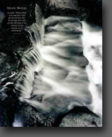 black and white water fall