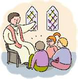 Priest Characature with children